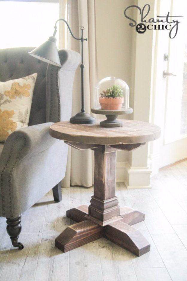 DIY End Tables with Step by Step Tutorials - DIY Round Side Table - Cheap and Easy End Table Projects and Plans - Wood, Storage, Pallet, Crate, Modern and Rustic. Bedroom and Living Room Decor Ideas http://diyjoy.com/diy-end-tables