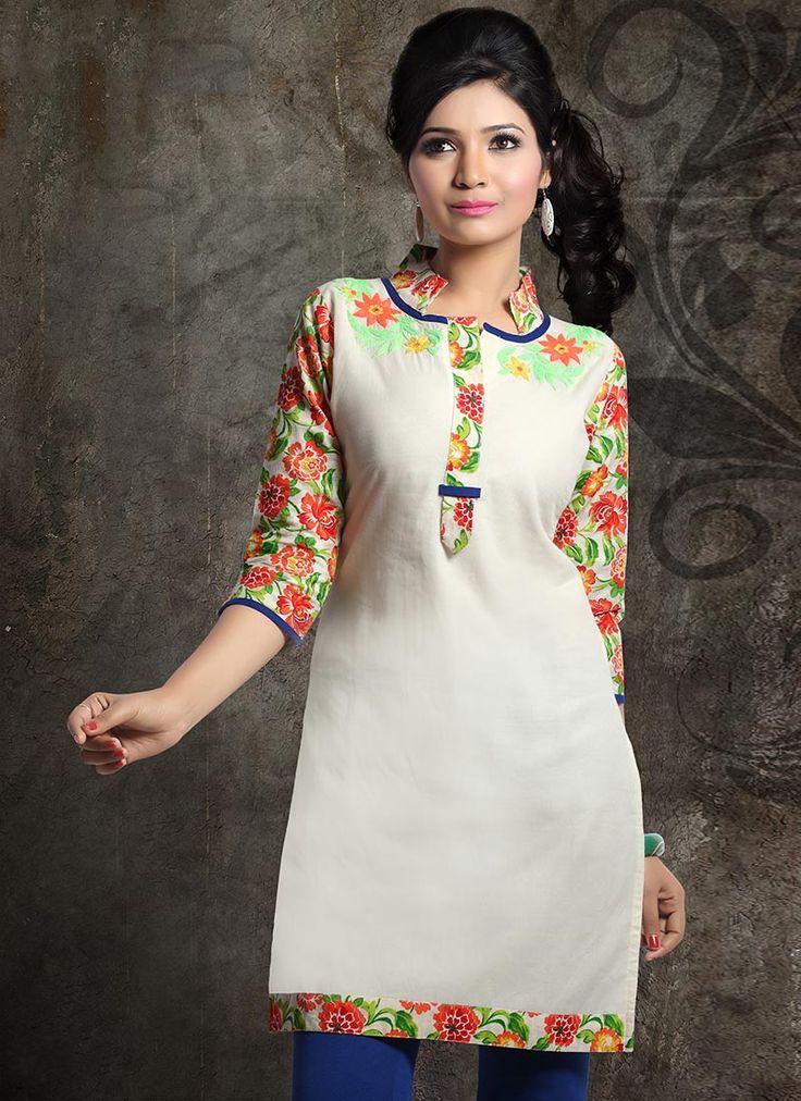 Terrific Off White #Printed #Cotton #Kurti