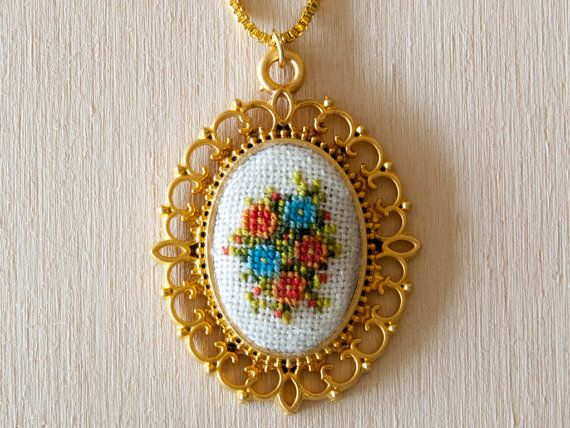 Cross stitch pendant necklace - Orange and Blue Flowers, Gold Setting - 40x34 mm (1.6x1.3inch) Oval