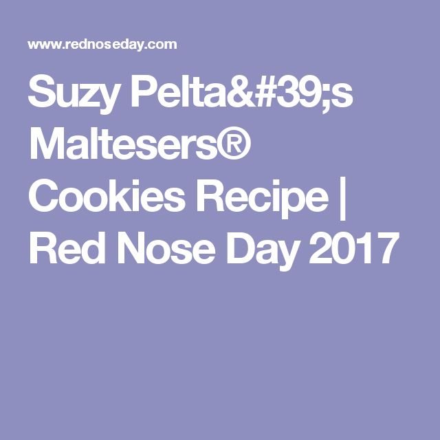 Suzy Pelta's Maltesers® Cookies Recipe   Red Nose Day 2017