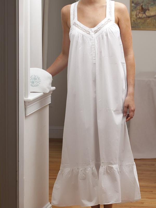 Courtney Ladies Cotton Nightgown Sleeveless White