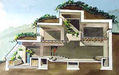 Earth Sheltered Homes and Berm Houses - a great cutaway view of how to set up a bermed home to allow light on each level, (front and back) as well as perfect indoor growing conditions for indoor gardens and green walls.