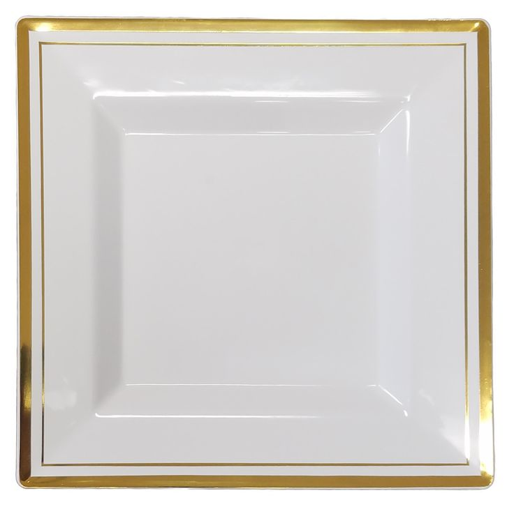 """Posh Party Supplies - 9.5"""" Square White / Gold Plastic Plates - Maystar -10 plates, $7.19 (http://www.poshpartysupplies.com/new-arrivals/9-5-square-white-with-gold-rim-plastic-plates-maystar-10-plates/)"""