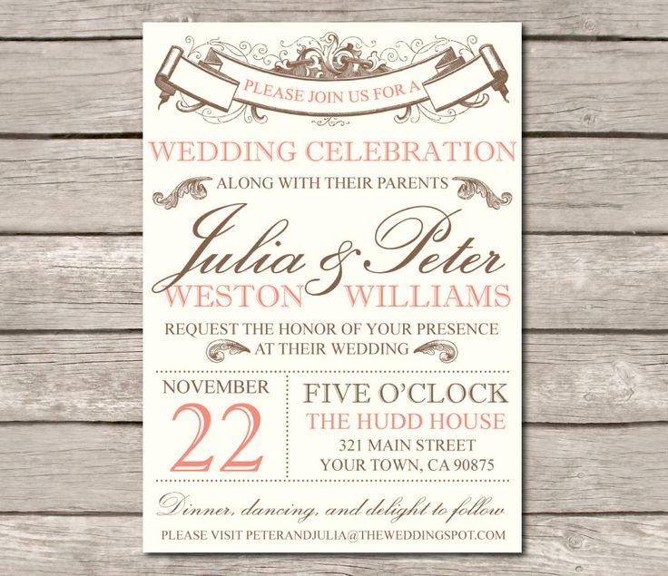 Vintage Wedding Invitation and RSVP- customize with your colors, diy. SAMPLE. $4.00, via Etsy.