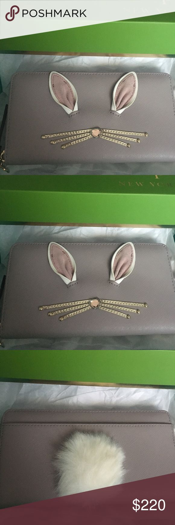Kate Spade Wallet. Rabbit Neda, debuted 9/2/17. This wallet is brand new, and has never been used. It is super cute! Still has all the tags and is in the original box. It is called the Rabbit Neda, hop to it wallet and debuted 9/2/17. The detailing with the rabbit ears and bunny tail is extra fun and cute! It is very roomy too so it would hold your phone, keys, cards, etc! Cute enough to be carried alone or like a clutch, yet still small enough to slip into a purse! kate spade Bags Wallets