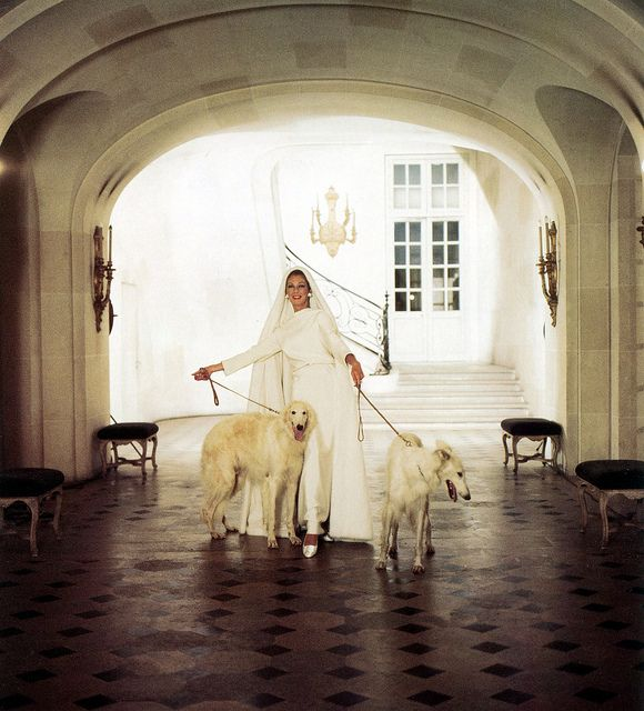 Baroness Fiona Thyssen, formerly Fiona Campbell-Walter wearing dress by Nina Ricci, in fashion shot for the Weekend Telegraph, photo by Cecil Beaton, September 2, 1966