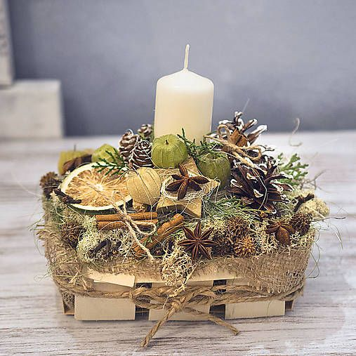 Natur fragrant christmas candleholder, christmas decor idea,