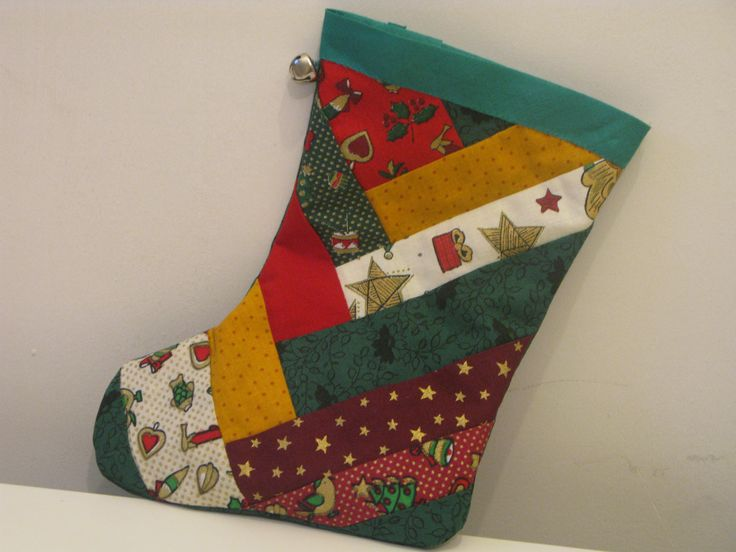 Patchwork Christmas stocking - easy to make and can be adjusted to different sizes
