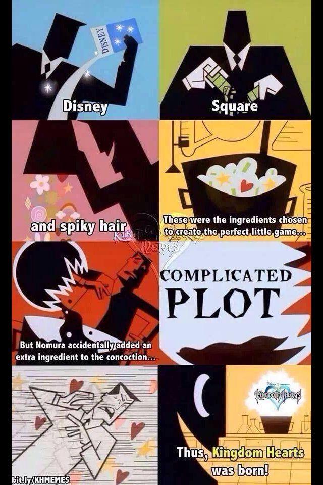 Uhauhauahua  Tradução: ''Disney,Square e cabelo espetado...(Não consigo enxergar direito ;-; )... Assim,Kingdom Hearts nasceu!