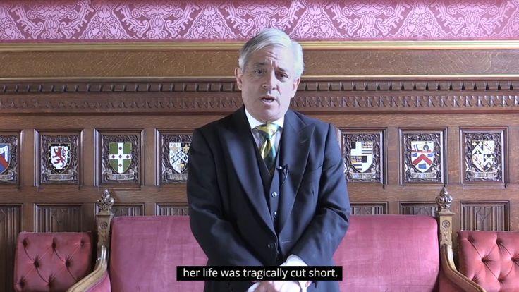 Mr Speaker, Rt Hon John Bercow MP, on the anniversary of the death of Jo...