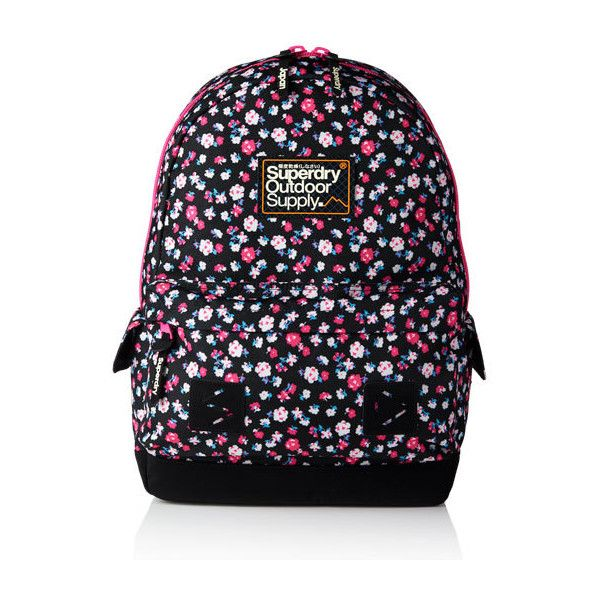 Dewberry Montana Rucksack (315 BRL) ❤ liked on Polyvore featuring bags, backpacks, black floral, black floral bag, rucksack bag, backpacks bags, padded backpack and flower print backpack