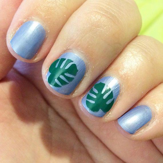 30 banana leaf decals/guides for nail art. Nail stencils nail