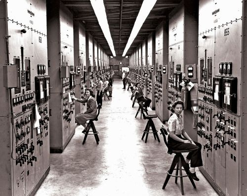 Employees of the Manhattan Project operating calutron control panels at Y-12 National Security Complex, Oak Ridge, circa 1943. US government photo by Ed Westcott via reddit [[MORE]] Particularly interesting historical background of this photo to whoever's interested! (source: Wikipedia ) Calutron operators at their panels, in the Y-12 plant at Oak Ridge, TN during World War II. The calutrons were used to refine uranium ore into fissile material.
