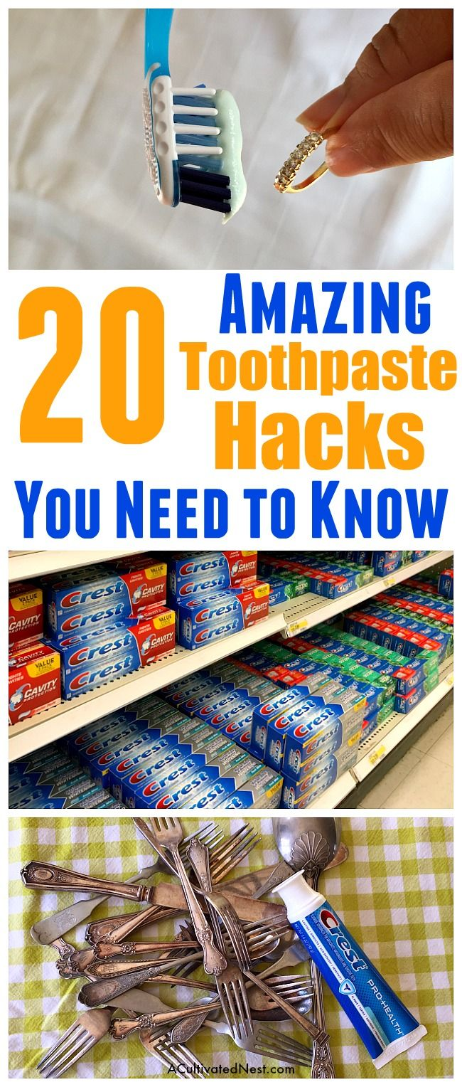 20 Frugal Ways to Use Toothpaste- Did you know that there are many frugal ways to use toothpaste? It can replace a lot of commercial items. You can use it around your home, or even for health and beauty issues! Here are the 20 best ways to use toothpaste that I've found! | toothpaste hacks, strange ways to use toothpaste, save money, clean jewelry, clean diamonds, clean silver, #cleaningTips #frugalLiving #hacks #toothpaste