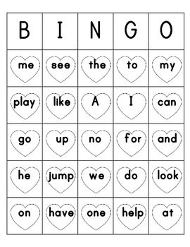 Valentines Day Sight Word Bingo Sheets: 7 different Bingo Sheets containing a mixture of pre-primer and primer sight words.