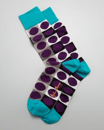 Circle-on-Square Men\'s Socks, Purple by Arthur George by Robert Kardashian at Neiman Marcus.