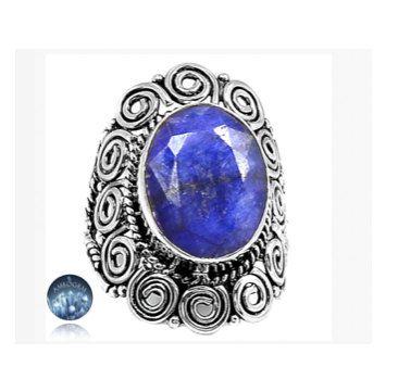 Sz 7.5, Genuine Dark Blue INDIAN SAPPHIRE Oval Gemstone, 925 Solid Sterling Silver Statement Unisex Ring Jewellery!! by Ameogem on Etsy