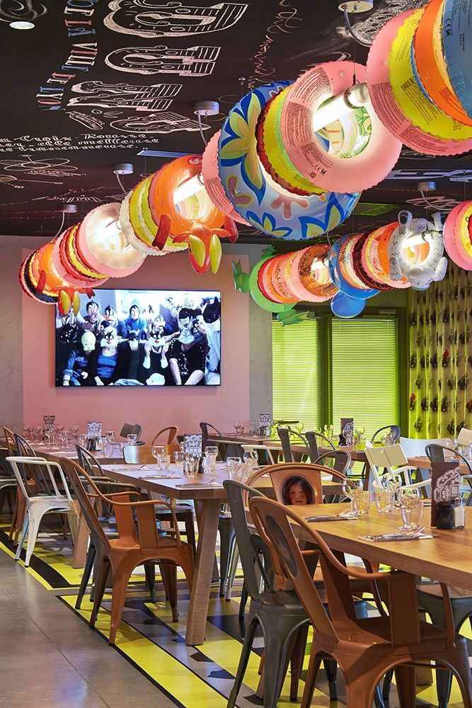 Restaurant at Mama Shelter Hotel Lyon designed by Philippe Starck