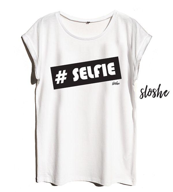 #SELFIE, biały bawełniany t-shirt od SLOSHE