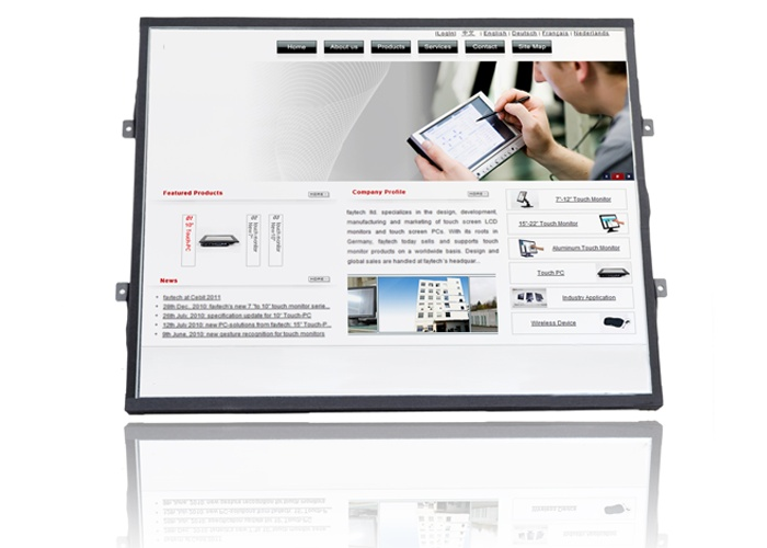 Open Frame Touch PC.    This Open Frame Touch-PC is suitable for use in harsh work environments, for example in industry use or in the POS. Due to the robust aluminum housing, the additional screwed power plug and the lack of moving parts, the Touch-PC is suitable even for use in machineries where permanently vibration exits.