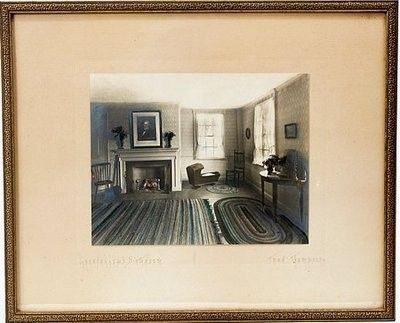 $52.77 Antique FRED THOMPSON Hand Colored Picture Portland Maine  Antique hand colored photograph by: FRED THOMPSON  From the Thompson Art Company & Studio 1908 - 1923  Titled: Longfellow's Birthroom. Interior picture of the birthplace of Henry Wadsworth Longfellow, author of literary classics including Paul Revere's Ride, Song of Hiawatha and Evangeline. Birthplace: Portland, Maine.  Picture signed in black pencil lower right hand corner by artist and titled lower left hand