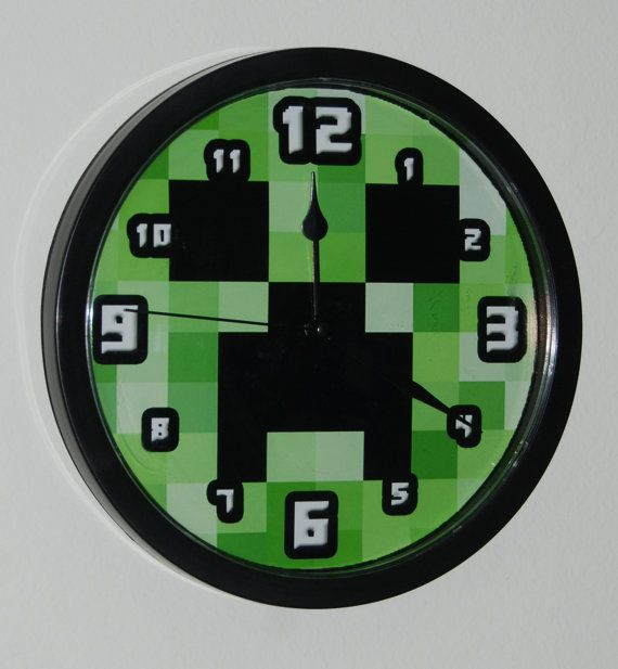 Handmade Wall Clock for Minecraft Gamer Enthusiast by AviLaLa, $24.99