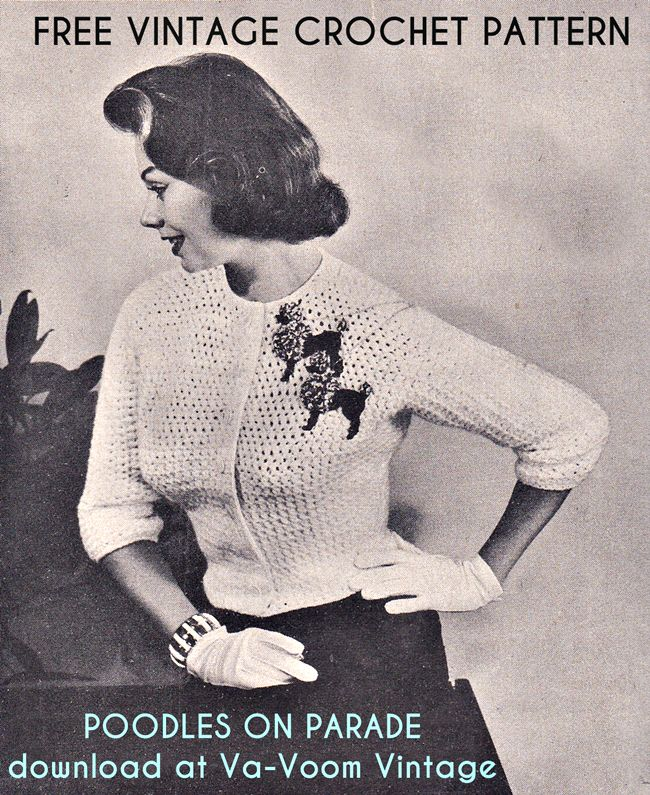 Free Vintage Pattern: 1950s Crochet Poodle Cardigan