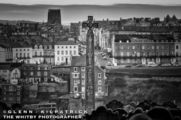 Overlooking Whitby with Caedmon's cross in the foreground