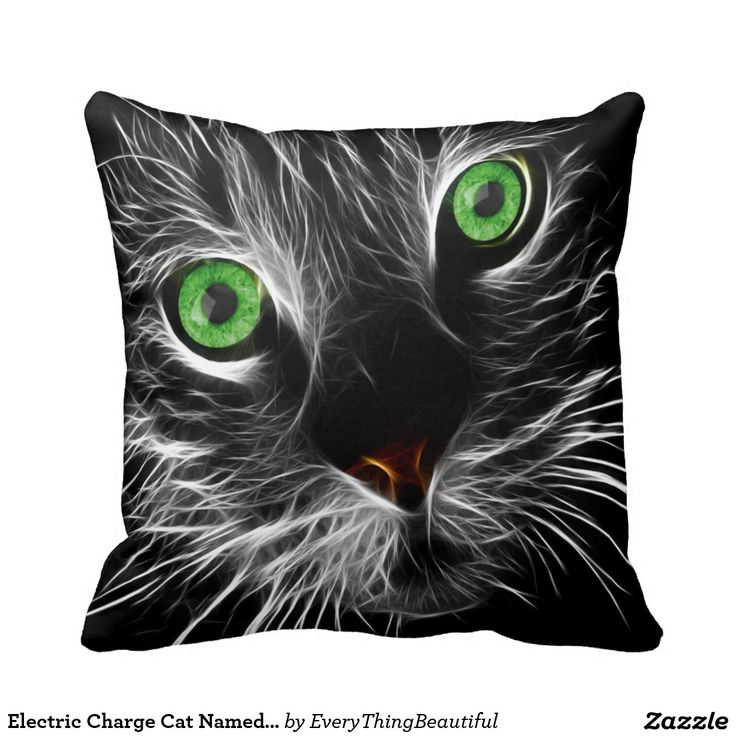 Electric Charge Cat Named Purr Throw Pillow Bright green eyes cat with a electric charge flowing though him. The cat is black with white Photoshop electricity on him. Click the Customize It button to add your own text or images to create a unique one of a kind design! Get creative
