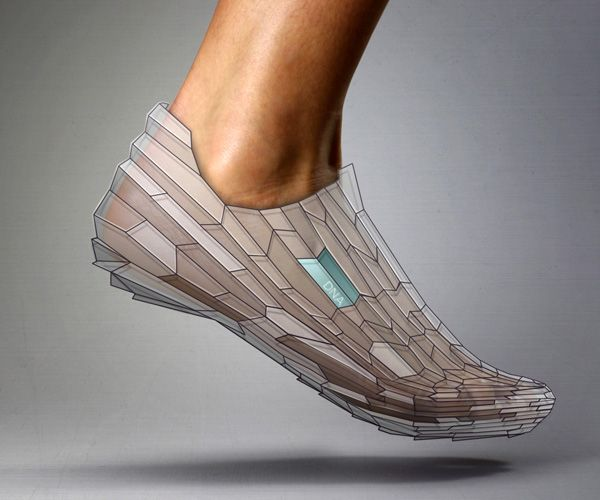 3D Printed Shoe by Alex Diener & Pensar--Throw on trainers outfitted with pressure sensors and accelerometers and go for a run. Bring them back to the store, upload the data and a series of algorithms develops a shoe that fits the way your body moves.