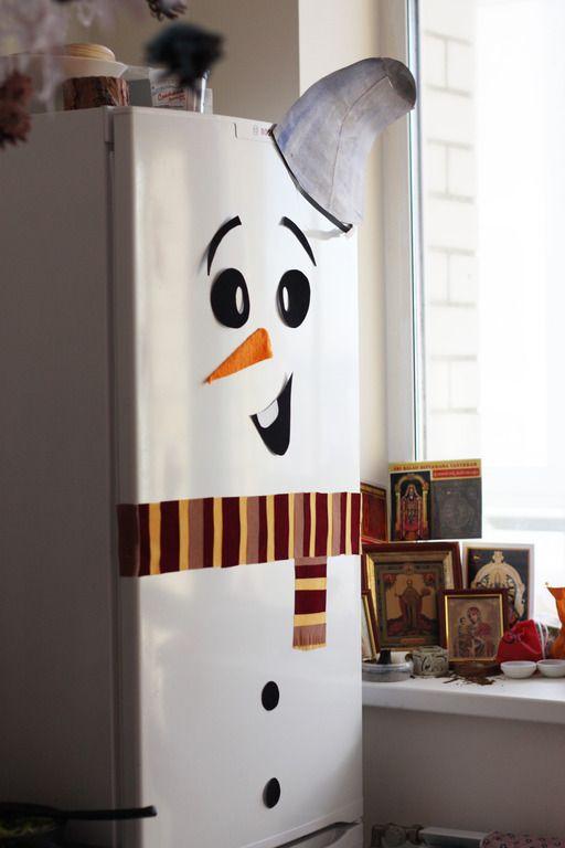 Веселый Снеговик! декор холодильника