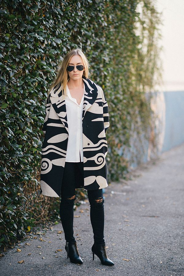 Kimberly Pesch of Eat Sleep Wear in the DVF Daphnis Wool Cocoon Coat.