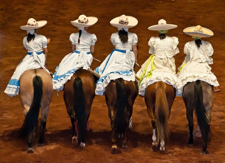 Charras carry out Mexican tradition of beautiful women on gorgeous horses.