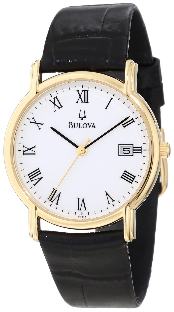 Bulova Men's 97B13 Black Tortoise Shell Leather Strap Watch. Quartz movement. Mineral crystal. Stainless-steel case; white dial; date function. Water-resistant to 99 feet (30 M).