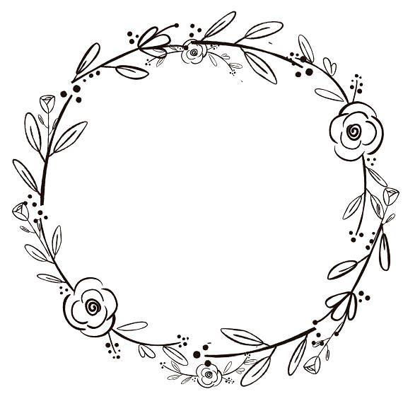 Black Clipart Black Flowers Handdrawn Wreath Clipart Etsy Wreath Clip Art Black Flowers Wreath Drawing