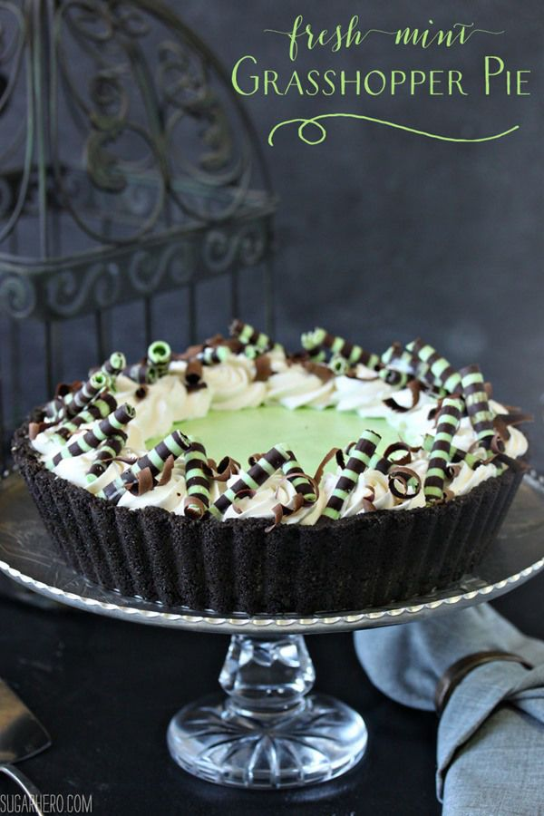 Fresh Mint Grasshopper Pie | From SugarHero.com