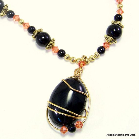 Black Obsidian Necklace | Black Stone pendant | Mourning Necklace | Black Pendant | Black Bead Necklace | Halloween Necklace