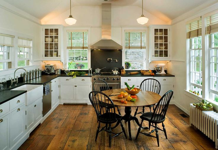 19th Century Farm House - kitchen - windows!!, floor!, radiator, counter top - open height of the kitchen without being too large