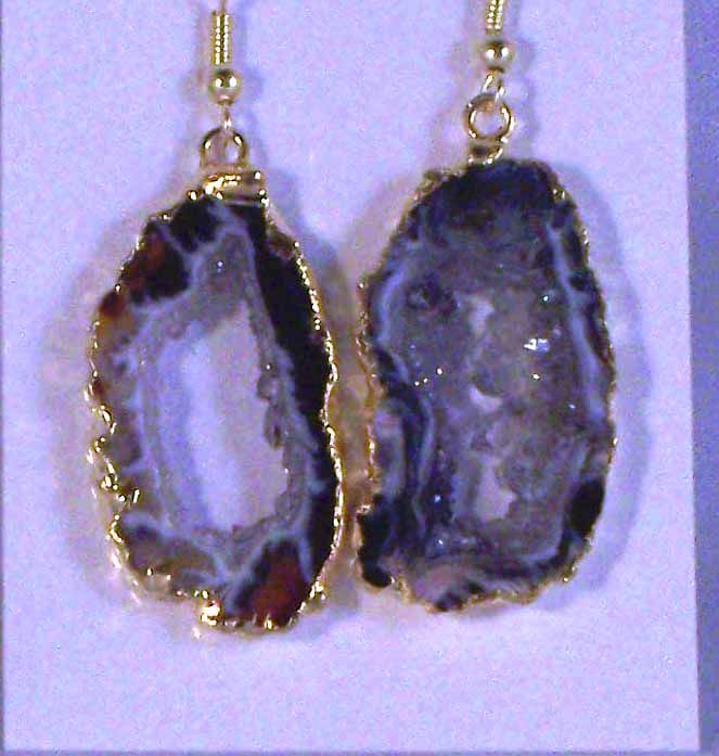 Occo Ocho Druzy Gold Wrapped Natural Earrings