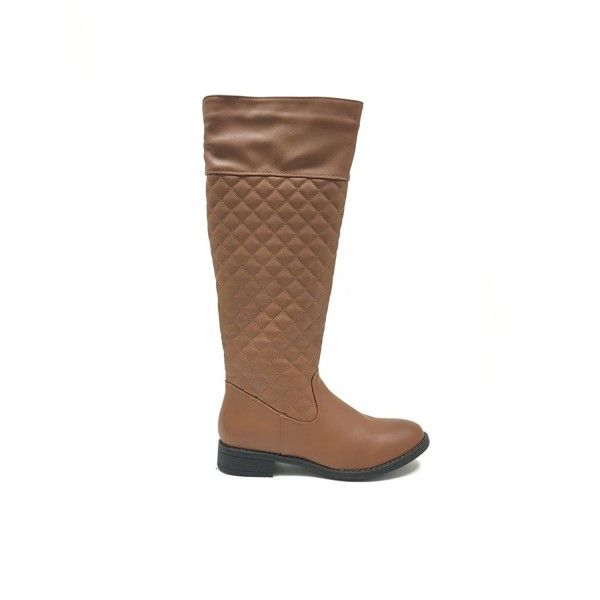 Women S Leatherette Quilted Knee High Boots Brown Cw126zlot7t Boots Brown Boots Knee High Boots
