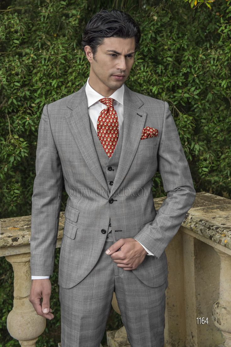 Abito sposo uomo in misto lana Principe di Galles grigio