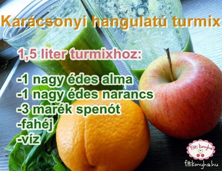 Fitti Konyha: Karácsonyi zöld turmix spenótból, almából és narancsból