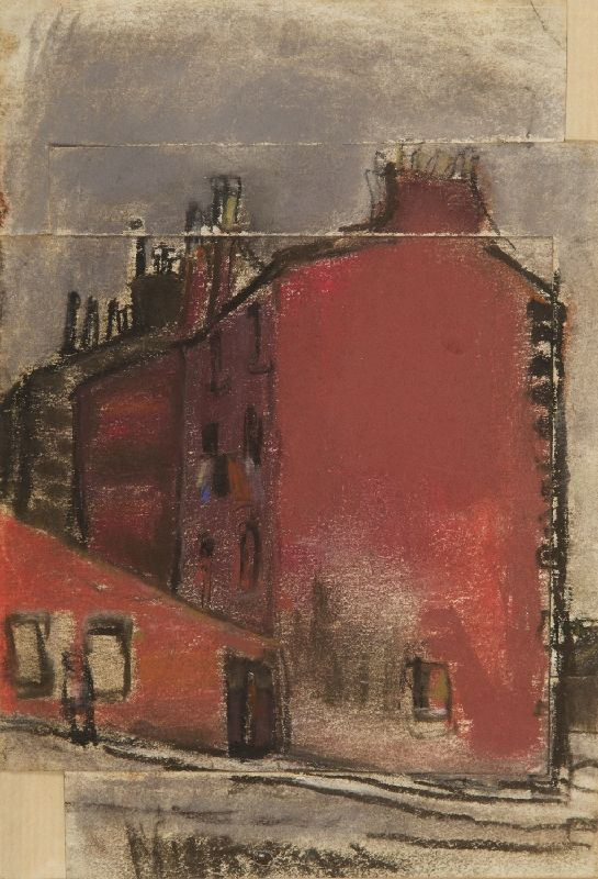 JOAN EARDLEY - Glasgow Tenements (Hume Street Tarket Street), coloured chalk and charcoal on joined paper, 22.9 x 15.9 cm.