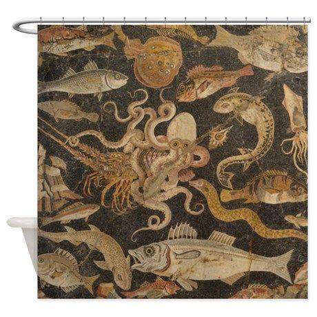 Pompeii Mosaic Shower Curtain   Pompeii, Shower Curtains and Mosaics