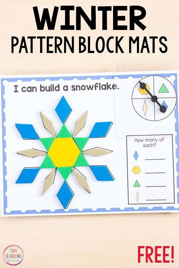 Winter Pattern Block Mats Math Activities For Kids Preschool