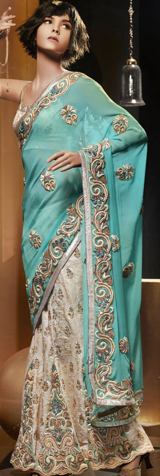 Aqua Blue And Cream Faux Georgette Lehenga Style Saree With Blou
