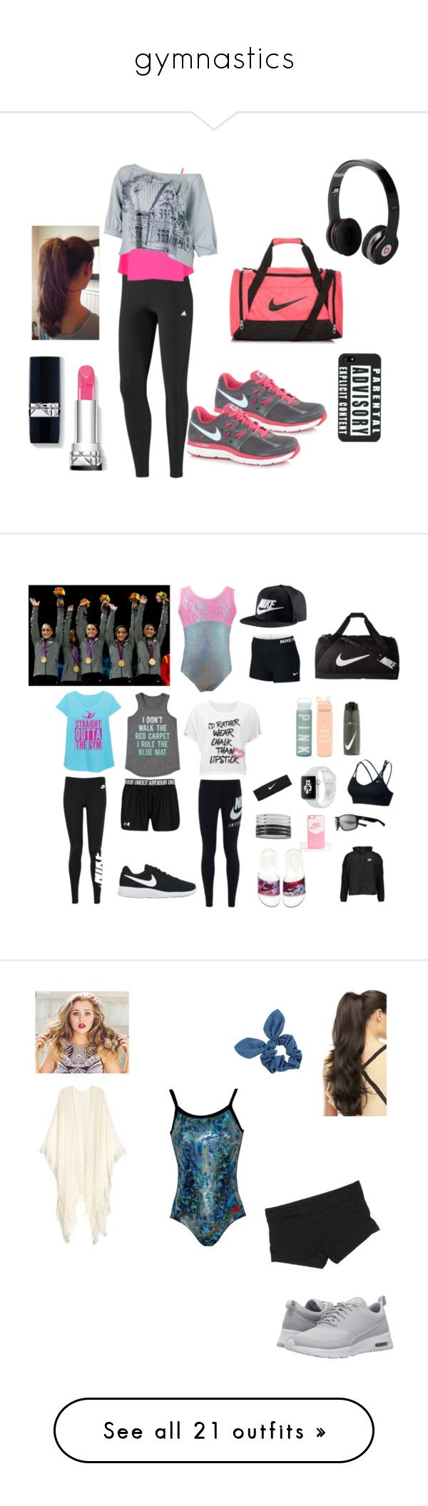 """""""gymnastics"""" by sheenchelcy ❤ liked on Polyvore featuring adidas, Miss Selfridge, NIKE, Beats by Dr. Dre, ban.do, Victoria's Secret, sporty, athletic, gymnastlife and Mossimo"""