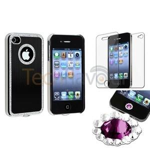 Black Bling Luxury Cover Case For iPhone 4 4G 4S+Purple Diamond Home Sticker+SPT | eBay