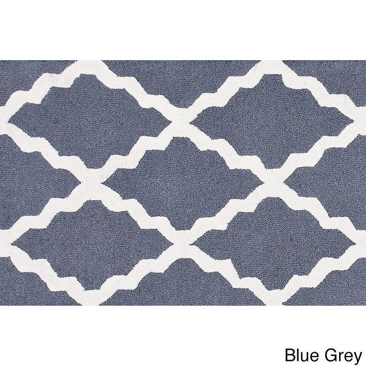 nuLOOM Hand-hooked Alexa Moroccan Trellis Wool Door Mat Rug (2' x 3') (Blue Grey) (Oriental)