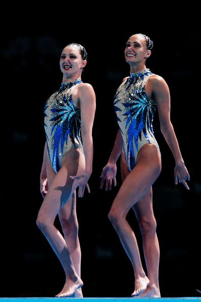 Jenna Randall and Olivia Federici of Great Britain compete during the Synchronized Swimming Duet Free Final on day six of the 15th FINA World Championships at Palau Sant Jordi on July 25, 2013 in Barcelona, Spain.